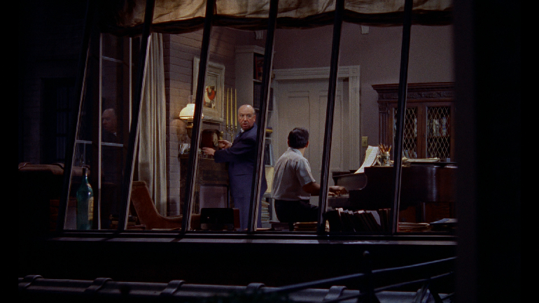 Alfred Hitchock's cameo in Rear Window