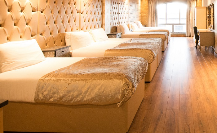 places to stay in Liverpool - Champagne party room at Arthouse Hotel